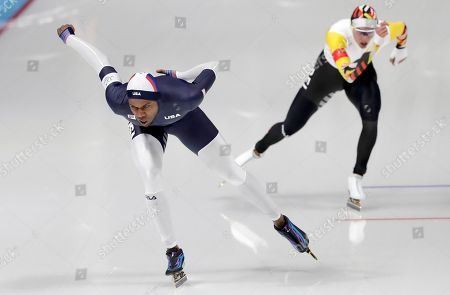 Shani Davis of the US in action during the Men's Speed Skating 1500 m competition at the Gangneung Oval during the PyeongChang 2018 Olympic Games, South Korea, 13 February 2018.