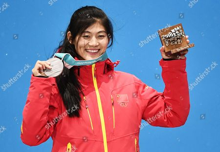 Stock Picture of Silver medalist Liu Jiayu of China during the medal ceremony for the women's Snowboard Halfpipe event during the PyeongChang 2018 Olympic Games, South Korea, 13 February 2018.