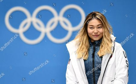 Gold medalist Chloe Kim of the US during the medal ceremony for the women's Snowboard Halfpipe event during the PyeongChang 2018 Olympic Games, South Korea, 13 February 2018.