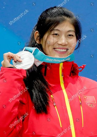 Silver medalist Liu Jiayu of China during the medal ceremony for the women's Snowboard Halfpipe event during the PyeongChang 2018 Olympic Games, South Korea, 13 February 2018.