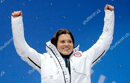 Bronze winner Arielle Gold of the USA during the medal ceremony for the women's Snowboard Halfpipe event during the PyeongChang 2018 Olympic Games, South Korea, 13 February 2018.