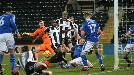 Shola Ameobi cant quite get the vital touch as Clint Hill clears for Carlisle