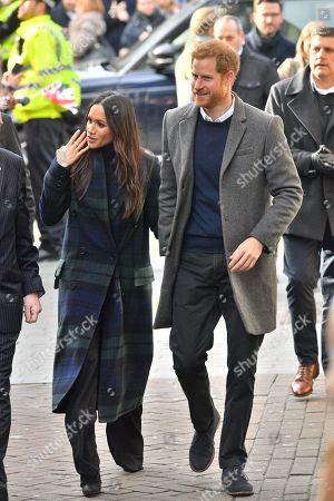 Prince Harry, Meghan Markle outside Edinburgh Castle