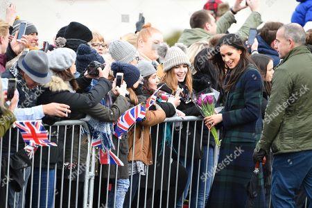 Stock Photo of Meghan Markle greets people outside Edinburgh Castle