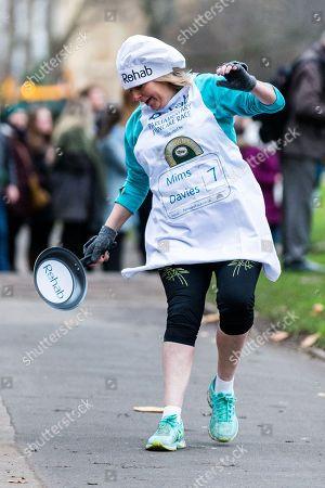 Mims Davies during the Rehab Parliamentary Pancake Race.