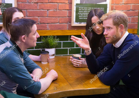 Sonny Murray chats to Prince Harry, Meghan Markle who are visiting charity Social Bite shop to meet with organisers and staff and hear about their work with the homeless