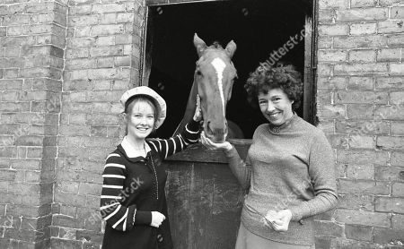 Publicity shot of the cast of Emmerdale Farm meeting their namesake race horse, Emmerdale Farm - with Sheila Mercier, Diane Grayson