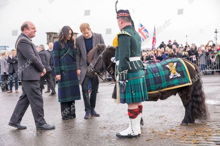 Prince Harry and his fiancé Meghan Markle meet 'Pony Major' Cruachan VI (a Shetland pony), the mascot of the Royal Regiment of Scotland during a visit to Edinburgh Castle in Scotland.