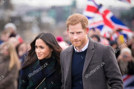 Prince Harry and his fiancé Meghan Markle visit Edinburgh Castle in Scotland.