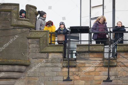 Crowds gather ahead of Prince Harry and his fiancé Meghan Markle's visit to Edinburgh Castle in Scotland.