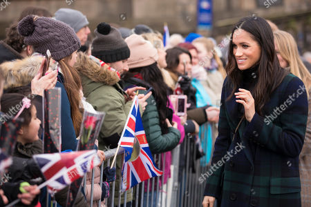 Meghan Markle visits Edinburgh Castle in Scotland.