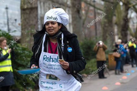 Dr Rupa Huq MP takes part in the 21st Parliamentary Pancake Race