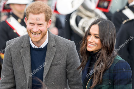 Prince Harry and Meghan Markle during the visit to Edinburgh Castle