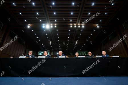 (L-R) Federal Bureau of Investigation Director Christopher Wray, Central Intelligence Agency Director Mike Pompeo, Director of National Intelligence Dan Coats, Defense Intelligence Agency Director Robert Ashley, National Security Agency Director Michael Rogers, and National Geospatial Intelligence Agency Director Robert Cardillo testify before an annual Senate Intelligence Committee hearing on 'world wide threats' in the Hart Senate office Building in Washington, DC, USA, 13 February 2018. The panel faced questions about the Adam Schiff memo and North Korea.