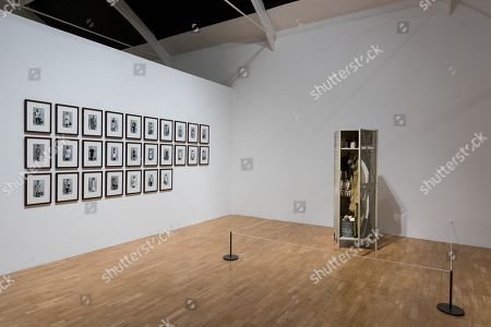A selection of portraits displaying the people that helped to find the treasures from the Thames (L) and artwork titled Artwork titled Tate Thames Dig - Locker, 2000 (R) by American artist Mark Dion