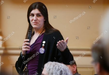 Del. Danica Roem, D-Prince William, gestures during debate on a bill during the House session at the Capitol in Richmond, Va., . After exhilarating political victories powered in part by an anti-Trump wave, freshman Democratic lawmakers in the Virginia House are facing the harsh reality of being new legislators, with almost all of their proposed legislation dying quick deaths