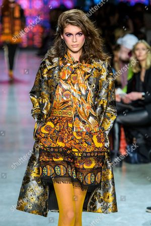Stock Image of Kaia Gerber on the catwalk