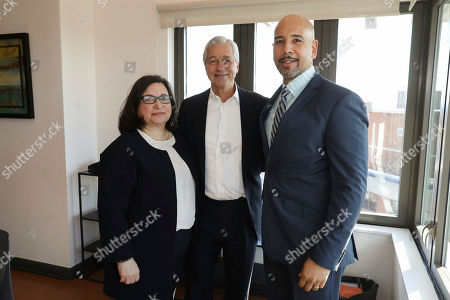 Karen Keogh, Jamie Dimon, Ruben Diaz Jr. From left to right) JPMorgan Chase's Head of Global Philanthropy Karen Keogh, JPMorgan Chase Chairman and CEO Jamie Dimon, and Bronx Borough President Ruben Diaz Jr. seen at the Entrepreneurs of Color Fund Launch in the South Bronx, NY on Tuesday, Feb. 13
