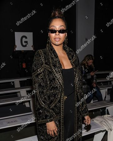 Lala Anthony attends the Naeem Khan show at Spring Studios during Fashion Week, in New York