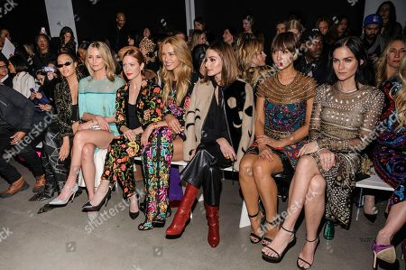 Lala Anthony, from left, Jennifer Nettles, Brittany Snow, Petra Nemcova, Olivia Palermo, Jackie Cruz, and Leigh Lezark attend the Naeem Khan show at Spring Studios during Fashion Week, in New York