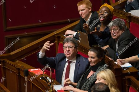 Jean-Luc Melenchon, Caroline Fiat, Adrien Quatennens, Daniel Obono and Eric Coquerel during the weekly session of questions to the government at the National Assembly.