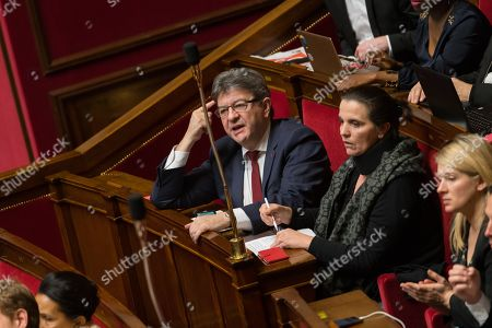 Jean-Luc Melenchon and Caroline Fiat during the weekly session of questions to the government at the National Assembly.