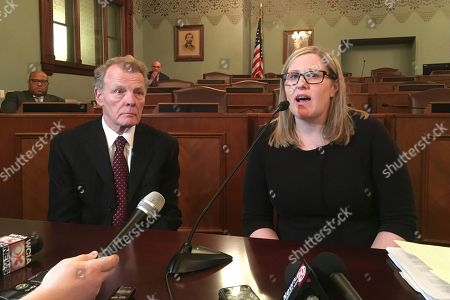 Illinois House Speaker Michael Madigan, left, appears with Heather Wier Vaught, right, attorney for Speaker Madigan's personal political committee, explains the process she took in investigating complaints from a Democratic Party campaign worker, Alaina Hampton, of sexual harassment by her supervisor, Kevin Quinn, in Springfield, Ill. Madigan, a Democrat from Chicago, announced Monday that Quinn, a longtime political aide, had been fired for sending Hampton inappropriate text messages in the fall of 2016. On Tuesday, Hampton told a news conference in Chicago, that had she not told her story to the Chicago Tribune, Quinn would not have been fired. Madigan denied that later in Springfield, said he first learned of Hampton's allegation in November 2017 and turned it over to Vaught for investigation