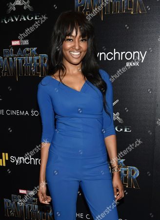 """Nichole Galicia attends a special screening of """"Black Panther"""" at the Museum of Modern Art, in New York"""