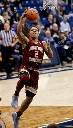 Boston College's Avery Wilson (2) plays against Pittsburgh during an NCAA college basketball game, in Pittsburgh