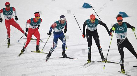 (L-R) Go Yamamoto of Japan, Hideaki Nagai of Japan, Bryan Fletcher of the USA, Vinzenz Geiger of Germany and Fabian Riessle of Germany in action during the Cross Country portion of the Nordic Combined Individual Normal Hill / 10 km competition at the Alpensia Ski Jumping Centre during the PyeongChang 2018 Olympic Games, South Korea, 14 February 2018.