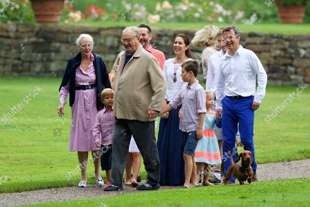 Queen Margrethe II of Denmark, husband Prince Consort Henrik, in between Prince Vincent, on the right: Jefferson Earl of Arrow and Child - Ellguth, Crown Princess Mary, Crown Princess of Denmark, Prince Christian of Denmark, Princess Josephine, Alexandra Princess of Sayn - Wittgenstein - Berleburg, Son of Count Richard von Pfeil und Klein-Ellguth, Crown Prince Frederik, Crown Prince of Denmark, Summer - Holiday of the Danish royal family at Gravenstein Castle, Grasten, Denmark, July 25, 2015,