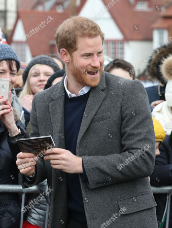 Prince Harry during a walkabout on the esplanade at Edinburgh Castle, during a visit to Scotland.
