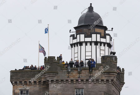 Crowds gather from rooftop of Camera Obscura ahead of a visit by Prince Harry and Meghan Markle to Edinburgh Castle.