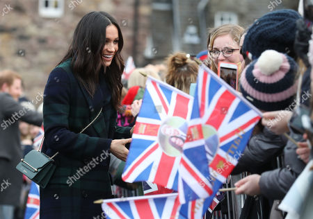 Meghan Markle during a walkabout on the esplanade at Edinburgh Castle, during their visit to Scotland.