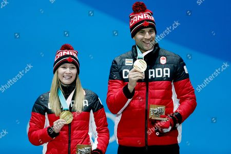 Gold medal winners John Morris (R) and Kaitlyn Lawes of Canada during the medal ceremony for the Curling Mixed Doubles event at the PyeongChang 2018 Olympic Games, South Korea, 14 February 2018.