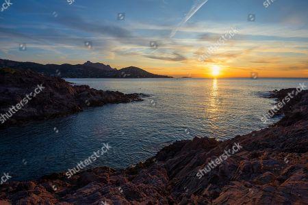 Sunrise at the Cap du Dramont, Massif de l' Esterel, Esterel Mountains, Departement Var, Region Provence-Alpes-Cote d' Azur, France