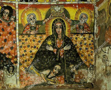 Fresco, Coronation of the Virgin Mary to the Queen of Heaven, rock church Maryam Papaseyti, Gheralta, Tigray, Ethiopia