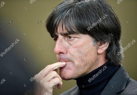 Football coach coach Joachim Jogi Loew, contemplative, Mercedes-Benz Arena, Stuttgart, Baden-Wuerttemberg, Germany