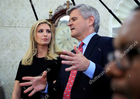 Ivanka Trump, Steve Case. Ivanka Trump, left, watches Steve Case speaks during a working session regarding the opportunity zones provided by tax reform attended by President Donald Trump in the Roosevelt Room of the White House, in Washington