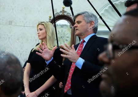 Ivanka Trump, Steve Case. Ivanka Trump, left, listens as Steve Case speaks during a working session regarding the opportunity zones provided by tax reform attended by President Donald Trump in the Roosevelt Room of the White House, in Washington