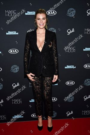Samantha Hoopes attends the 2018 Sports Illustrated Swimsuit Issue launch party at Magic Hour at Moxy NYC Times Square, in New York