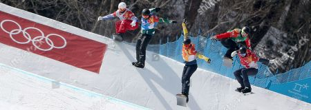 (L-R) Loan Bozzolo of France, Adam Lambert of Australia, Lluis Marin Tarroch of Andorra, Christopher Robanske of Canada and Hagen Karney of the USA in action during the Men's Snowboard Cross SBX 1/8 Finals at the Bokwang Phoenix Park during the PyeongChang 2018 Olympic Games, South Korea, 15 February 2018.