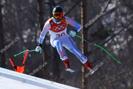 Stock Picture of United States' Wiley Maple skis during the men's downhill at the 2018 Winter Olympics in Jeongseon, South Korea