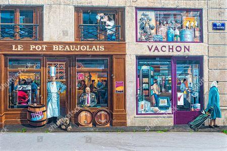 Stock Photo of Fresco ''La Fresque des Lyonnais'' representing known inhabitants of the city, Paul Bocuse and Frederic Dard, Lyon, Rhone Alpes, France