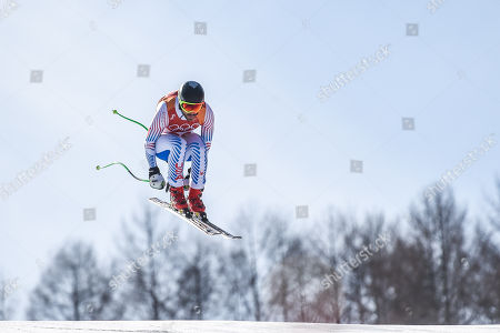 Stock Image of Wiley Maple of United States competing in mens downhill at Jeongseon Alpine Centre at Jeongseon , South Korea