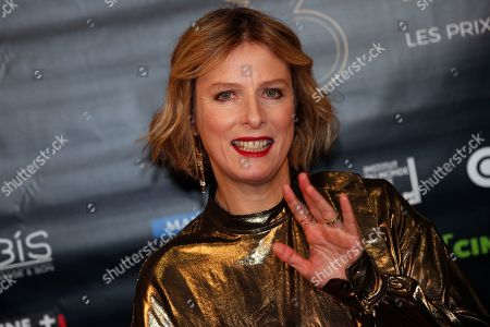 "Karine Viard poses during a photocall prior to the 23rd Lumieres awards ceremony at the ""Institut du Monde Arabe"" in Paris, . The Academie des Lumieres, is a group of 200 foreign journalists who reunite each year in Paris to vote for the best French films"