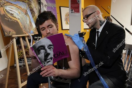Salvador Dali Fan, Richard with Tattooist Dan Gold