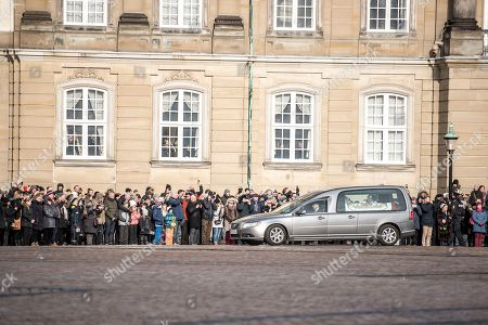 A hearse with the casket containing the body of Danish Prince Consort Henrik arrives to Amalienborg Palace in Copenhagen, Denmark, 15 February 2018. Prince Henrik of Denmark has died in his sleep at Fredensborg Palace on the evening of 13 February 2018. The funeral service of the 83-year-old French-born prince will be held at Christiansborg Palace Church (Christiansborg Slotskirke) at Slotsholmen in Copenhagen on 20 February 2018 and will be a private ceremony for family and friends as per his request.