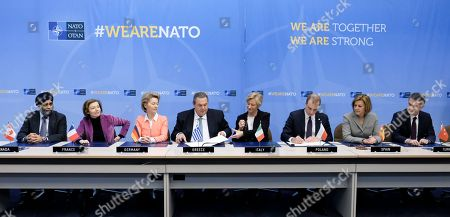 (L-R) Canadian Defense Minister Harjit Singh Sajjan, French Defense Minister Florence Parly, German Defense Minister Ursula von der Leyen, Greek Defence Minister Panos Kammenos, Italian Defence Minister Roberta Pinotti, Polish Under Secretary of State Tomasz Szatkowski, Spanish Minister of Defense Maria Dolores de Cospedal, and Turkish Defence Minister Nurettin Canikli look on during a signature ceremony on the side of the meeting of North Atlantic Treaty Organization (NATO) Defence Ministers at the NATO headquarters in Brussels, Belgium, 15 February 2018.