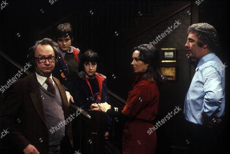 Stock Image of 'The Clifton House Mystery'  TV - 1978 -  Peter Sallis as Milton Guest, Joshua Le Touzel as Steven, Robert Morgan as Ben, Ingrid Hafner as Sheila Clare and Sebastian Breaks as Tim Clare.